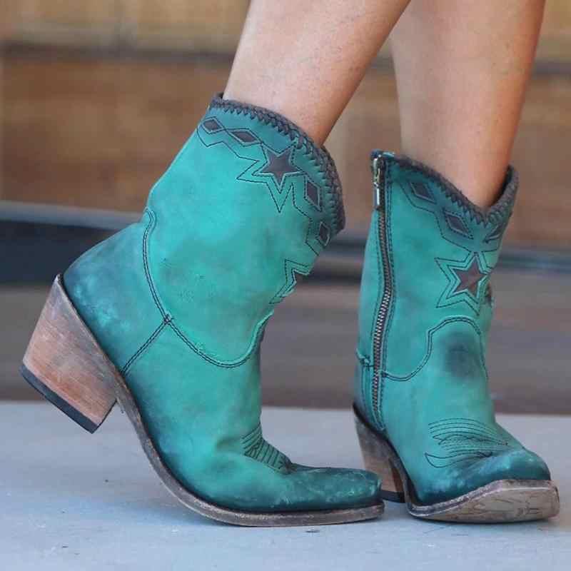 CYSINCOS Stivali Donna Tacco Basso Scarpe A Punta Stivali Western star Modello Cowboy Retro DELL'UNITÀ di elaborazione Stivali di Pelle Scarpe Da Donna