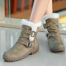 PU Leather Boots Women Winter Plus Size 43-46 Buckle Beautiful Snow Boots Woman Lace Up Plush Rubber Shoes Female цена 2017
