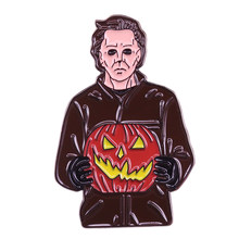 Michael Myers brooch murder mask Jack-o-lantern badge 70s horror movie pin perfect accessory for Halloween horror party(China)