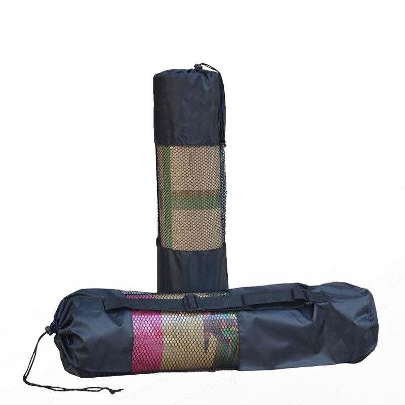 Black Portable Yoga Mat Bag Polyester Nylon Mesh Backpack Waterproof Pilates Carrier Adjustable Breathable Strap Sport Tool Bag