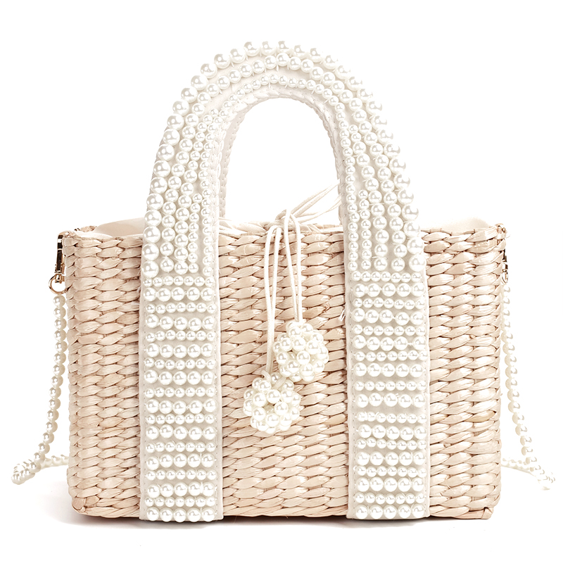 New Women's Bag With Pearl Ladies Hand Bags Straw Basket Large Tote Crossbody Messenger Bag For Womens Handbags And Purses