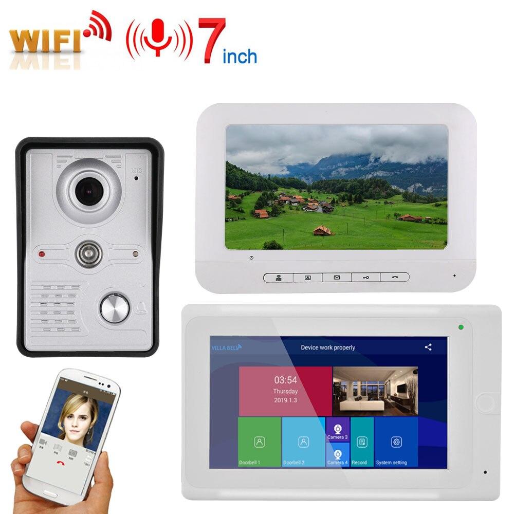 "7"" 2 Monitors Video DoorPhone Doorbell Intercom Wired /Wireless Wifi System with IR-CUT HD 1000TVL Wired Camera Night Vision,Su"