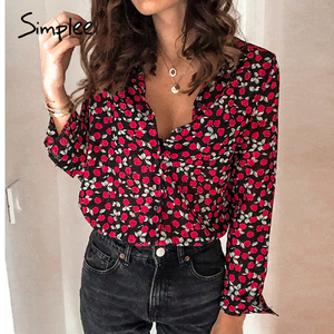Simplee Floral print women blouse shirt Vintage long sleeve female top shirt Streetwear v-neck plus size office ladies blouse