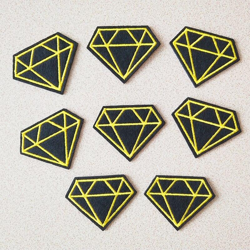 Parches adhesivos a la moda, 8 unidades por lote, parches de tela para hacerlo tú mismo en color negro y amarillo, apliques bordados para planchar en la ropa, insignia bordada