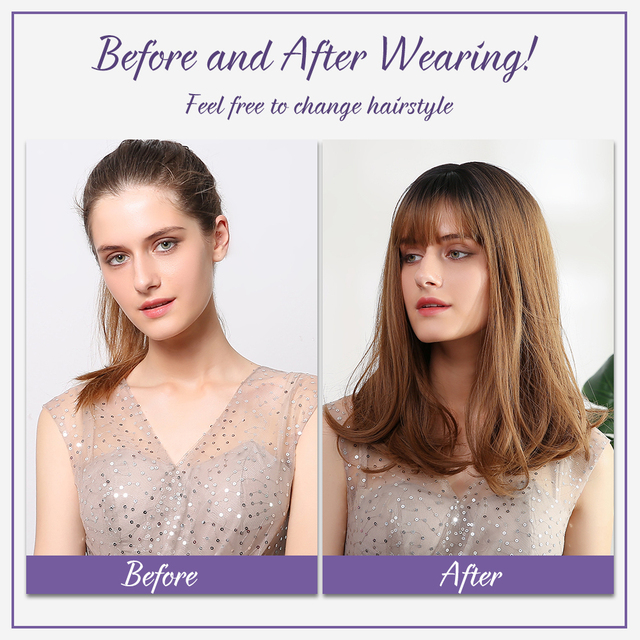 Element Long Ombre Brown Blonde wigs Straight Synthetic Hair Wigs With Bang For Women bobo Hairstyle Cosplay Fiber Wigs