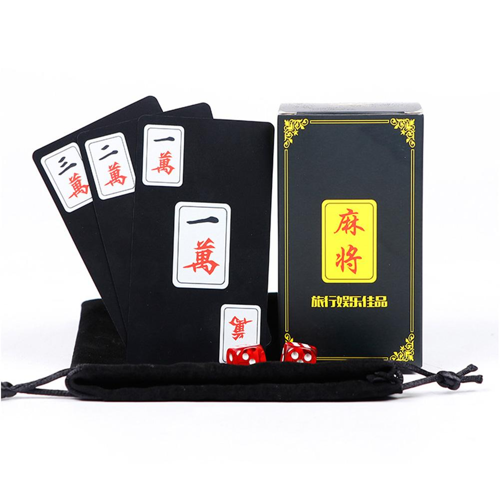 144PCS Waterproof Plastic PVC Playing Cards Chinese Mahjong Cards++2 Dice Mahjong Game Collection Cards Party Play Board Games
