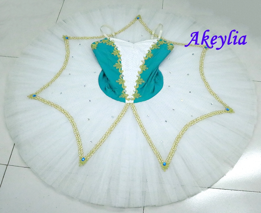 Light green adult professional ballet tutu classical tutus white pancake performance competition stage costume
