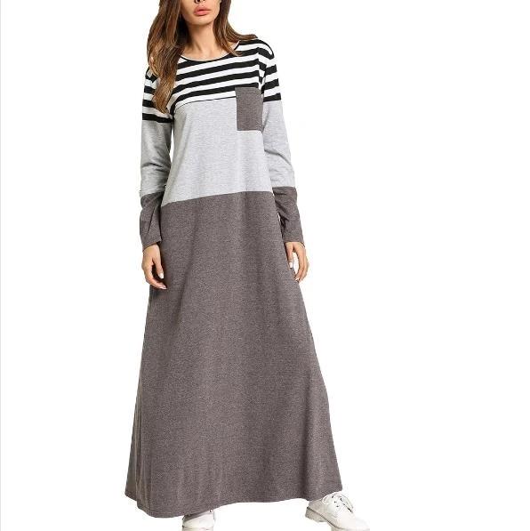 Pocket Patch stripes Color block maxi dresses Female spring 2020 long sleeve T shirt dress Muslim women home wear dress RQ367