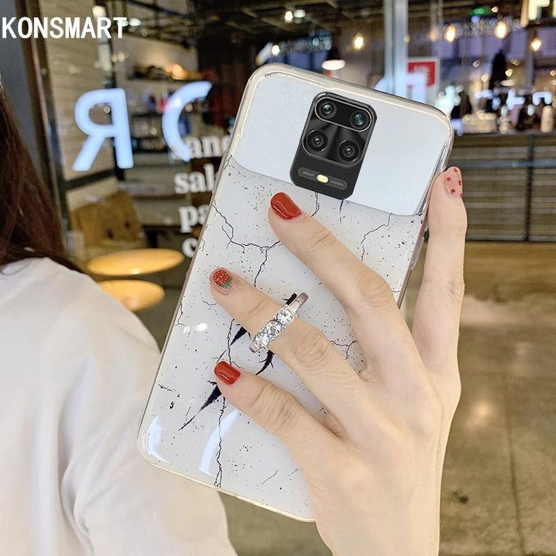 KONSMART Redmi Note 9S Case For Xiaomi Redmi Note 9 Pro Max Marble Mirror Silicone Soft Finger Ring Phone Case Redmi Note 9Pro