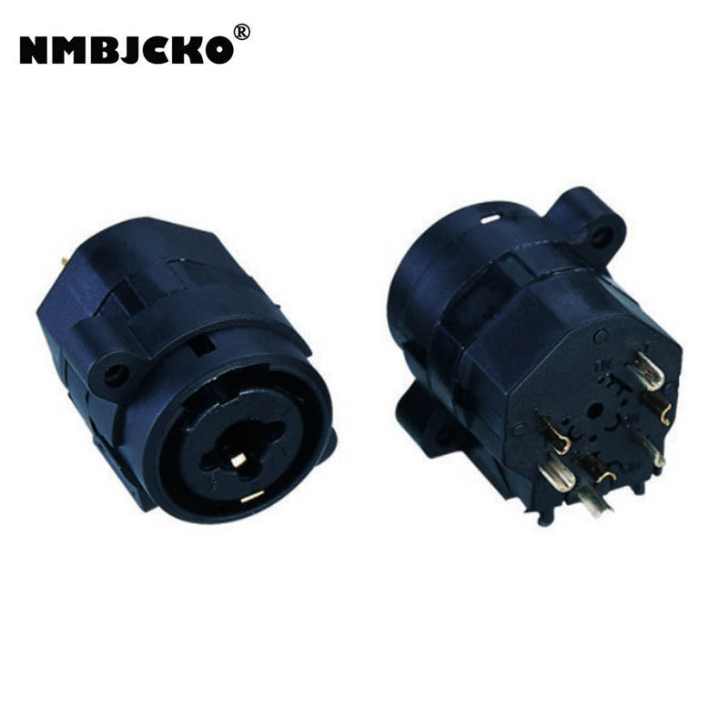 NMBJCKO 10pcs Combo Sheet 6.35 Jack Stereo Female Or 3 Pin Xlr Chassis D Standard Without Lock