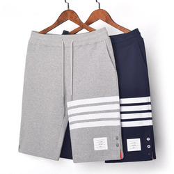 Fashion 2020 TB THOM Brand Casual Men Summer Button Split Cotton Sports Trousers Striped Panelled Jogger Track Shorts