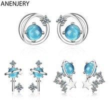 ANENJERY 925 Sterling Silver fantastyczny niebieski kryształ wszechświat Planet stadniny kolczyki z cyrkoniami gwiazda kolczyk dla kobiet S-E1001