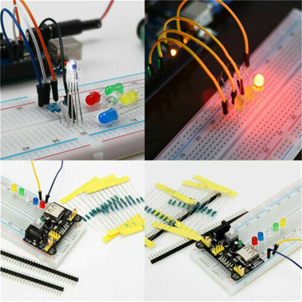 Electronic Component Starter Kit Breadboard LED Resistor Transistor Jumper Wire