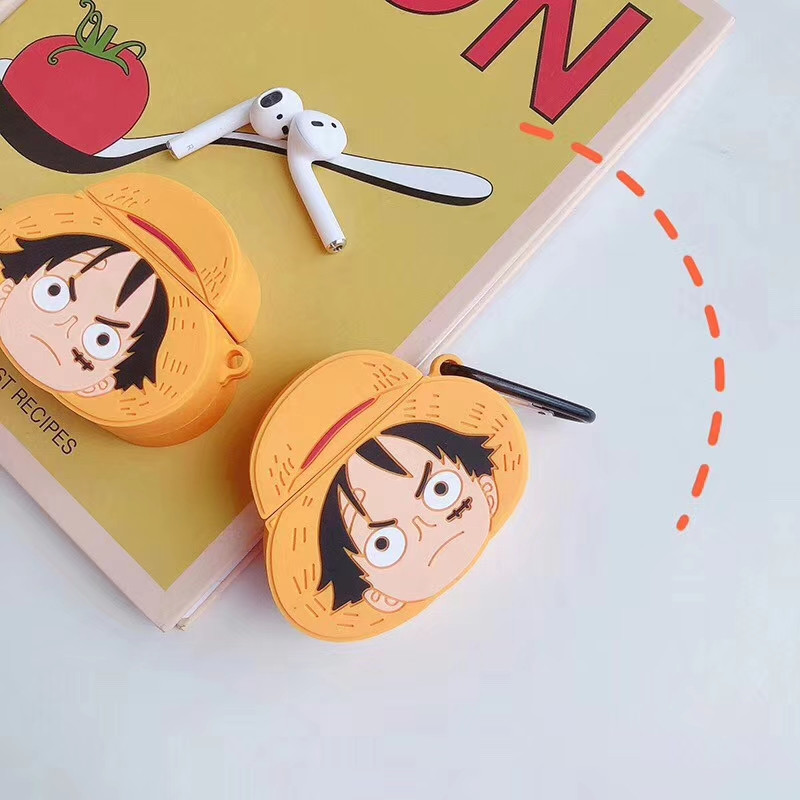 Image 3 - For AirPods Apple Case 3D Cartoon One Piece Headphone Cases For Airpods 1 2 Silicone Case Accessories Protector Cover Keychain-in Earphone Accessories from Consumer Electronics