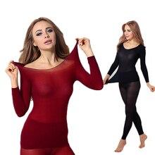 Warm เสื้อผ้าผู้หญิงฤดูหนาวความร้อน 2 ชิ้นชุดชุดสตรีเสื้อผ้าความร้อนสุภาพสตรีชุดยาว John WARM ชุด ropa termica mujer