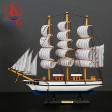 LUCKK 33CM Handmade Retro Wooden Sailing Boat Home Interior Decor Room Wood Crafts Ship Model Marine Souvenir Figurines Ornament