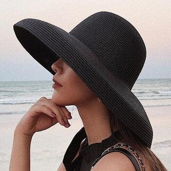 Hot Summer Hoilday Floppy Straw Hat Women Ladies Wide Brim Beach Foldable Bow Flower Sun Cap One Size