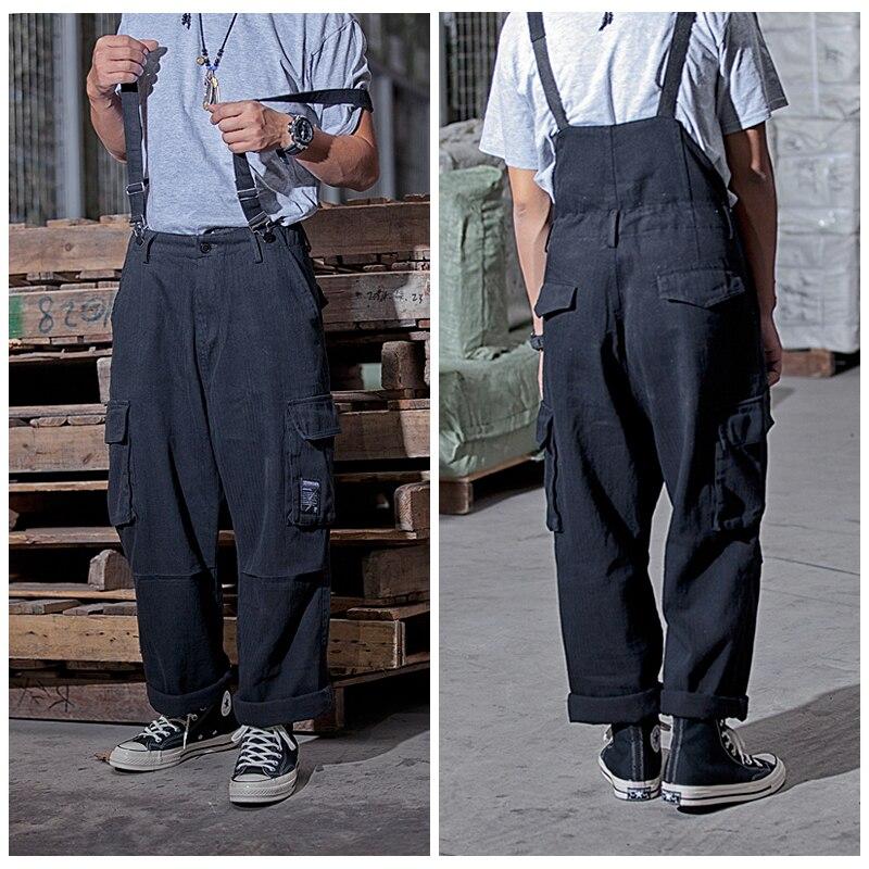 Suspenders Trousers Mens Streetwear Overalls Multi-pocket Work Cargo Pants Casual Wide-legged Baggy Pant Men