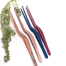 Four color Seafood Tools Kitchen Wobble Plate Tweezers Tongs Professional Chef Stainless Steel Chef Western food Pink
