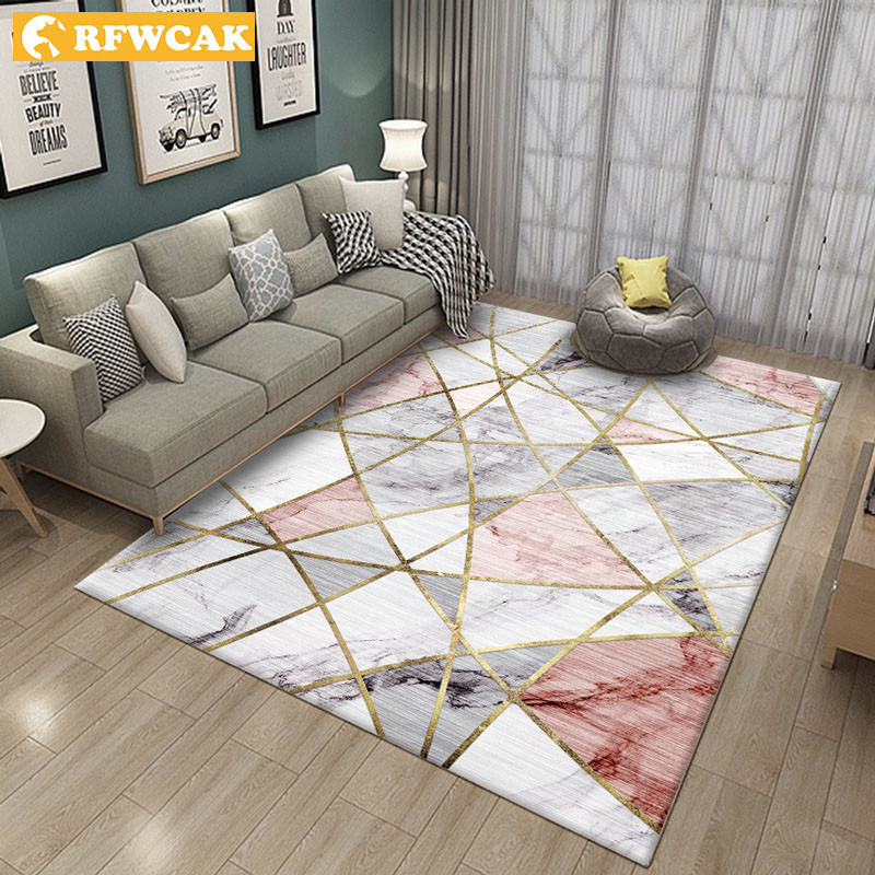 RFWCAK Nordic Marble Carpet For Living Room Area Rugs Anti-slip Badroom Large Rug Coffee Table Mat Bedroom Yoga Pad Home Decor
