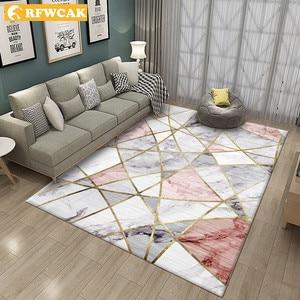 RFWCAK Nordic Marble Carpet for Living Room Area Rugs Anti-slip badroom Large Rug Coffee Table Mat Bedroom Yoga Pad Home Decor(China)