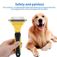 Stainless Double sided Pet Cat Dog Comb Brush Professional Large Dogs Open Knot Rake Pet Grooming Products