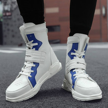 Luxury Hip Hop Men Chunky Sneakers High Top Casual Shoes Lace Up Outdoor Men Soft Leather tenis Walking Shoes Fashion Ankle Boot недорого
