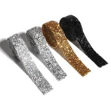 Strass à Motif cristal, 1 mètre, couture, garniture de bande avec Strass en cristal, fer à repasser sur des Appliques pour la décoration des vêtements