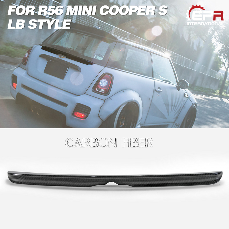 For Mini Cooper S R56 LB Style Carbon Fiber Rear Trunk Middle Spoiler Wing Kits