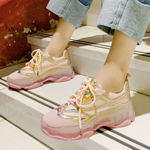 Fashion Pink Yellow Sneakers Brand Glitter 2019 New Women Shoes Transparent High Platform