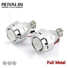 ROYALIN para coche de Metal para motocicleta H1 H7 H4, lente de proyector de Bi xenon HID 2,0 con Mini pistola Gatling