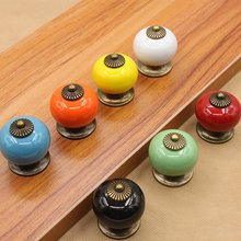 1002 Ball Ceramic Handles Drawer Knobs Cupboard Single Hole Cabinet With Screws Furniture