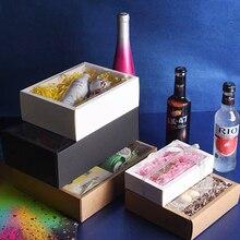 10 adet katlanır Kraft kağit kutu şeffaf PVC pencere ile hediye kutusu ambalaj kutusu Cajas de karton hediye kutusu