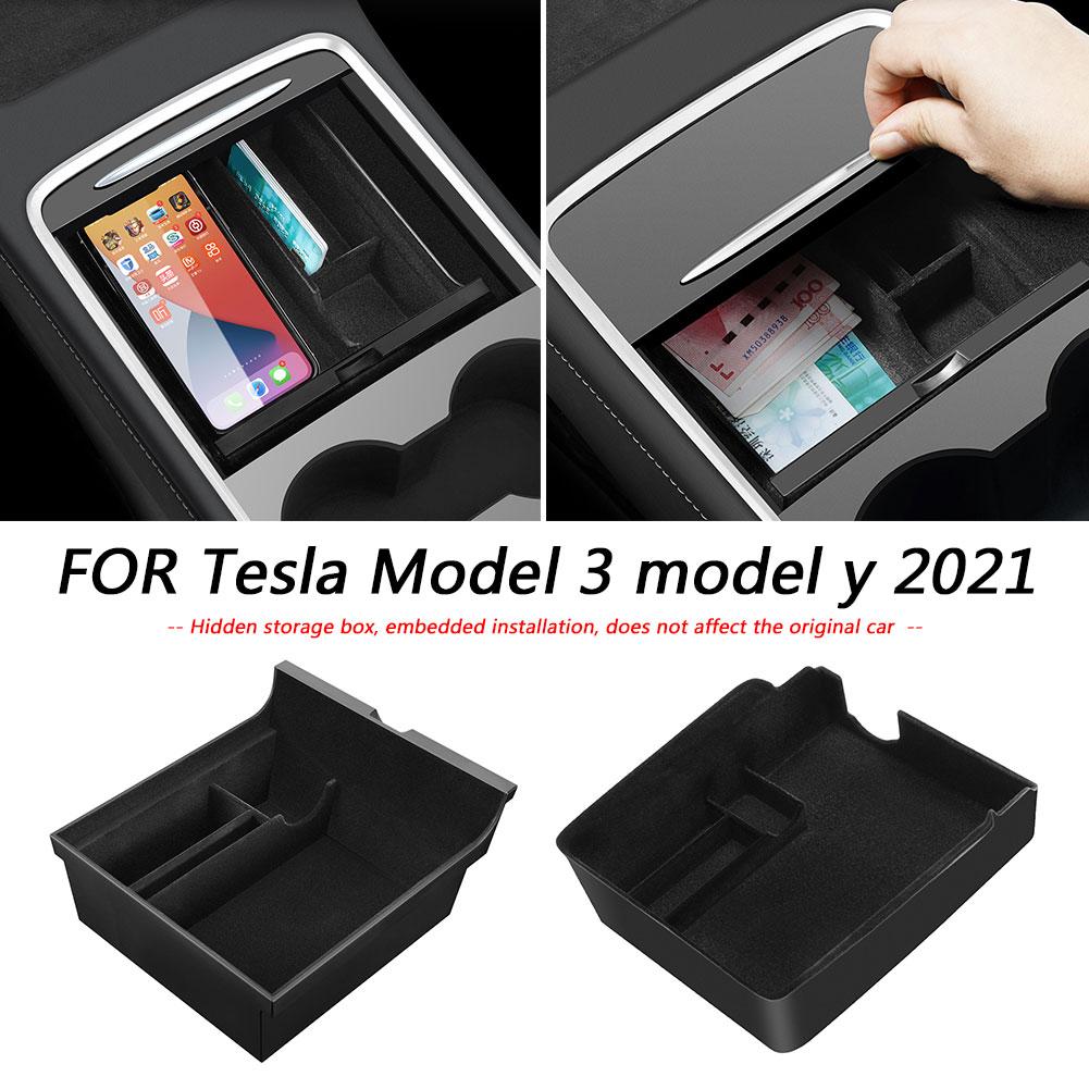 Car Center Console Flocking Organizer for Tesla Model 3 Y 2021 Armrest Storage Box Tray Car Console Flocking Organizer Container