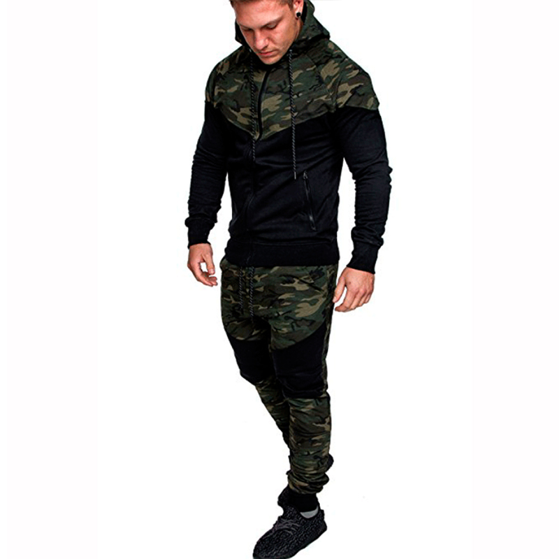 Men Set Camouflage Print Jacket+Pants 2PCS Male Casual Tracksuit Sportwear Hoodies Sweatshirt &Pant Suit Plus Size 3XL