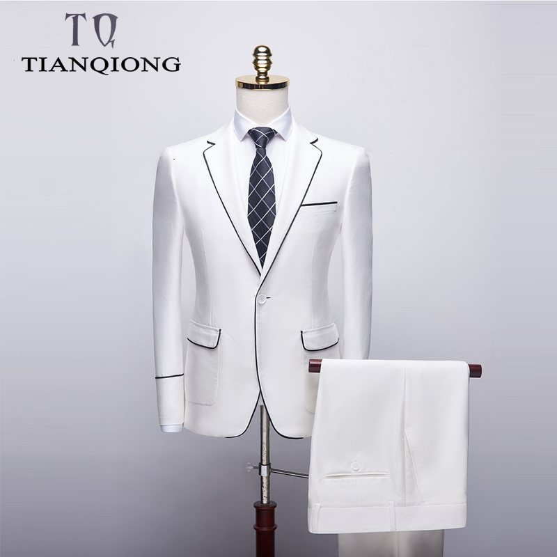 TIAN QIONG Solid Color Men Suit Single Breasted Business Men's Suits Tuxedo Grooms Wedding Suits For Men Slim Fit Party Dress