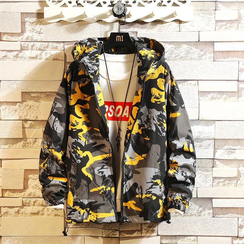 Men's New Fashion Camouflage Casual Jacket Hooded Zipper Jacket Hip Hop Men's Jacket Camouflage Printed Jacket Trend Size 3XL