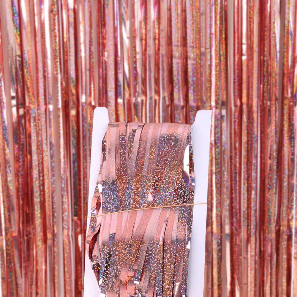 2 メートルメタリック箔フリンジきらめき背景の結婚式のパーティーの壁の装飾フォトブースの背景見掛け倒しグリッターカーテンピンク