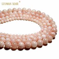 Top AAA 100% Natural Rosa Beryls redondo cuentas de piedra Natural para hacer joyería DIY pulsera collar 6/8/ hilo de 10/12mm 15,5 pulgadas
