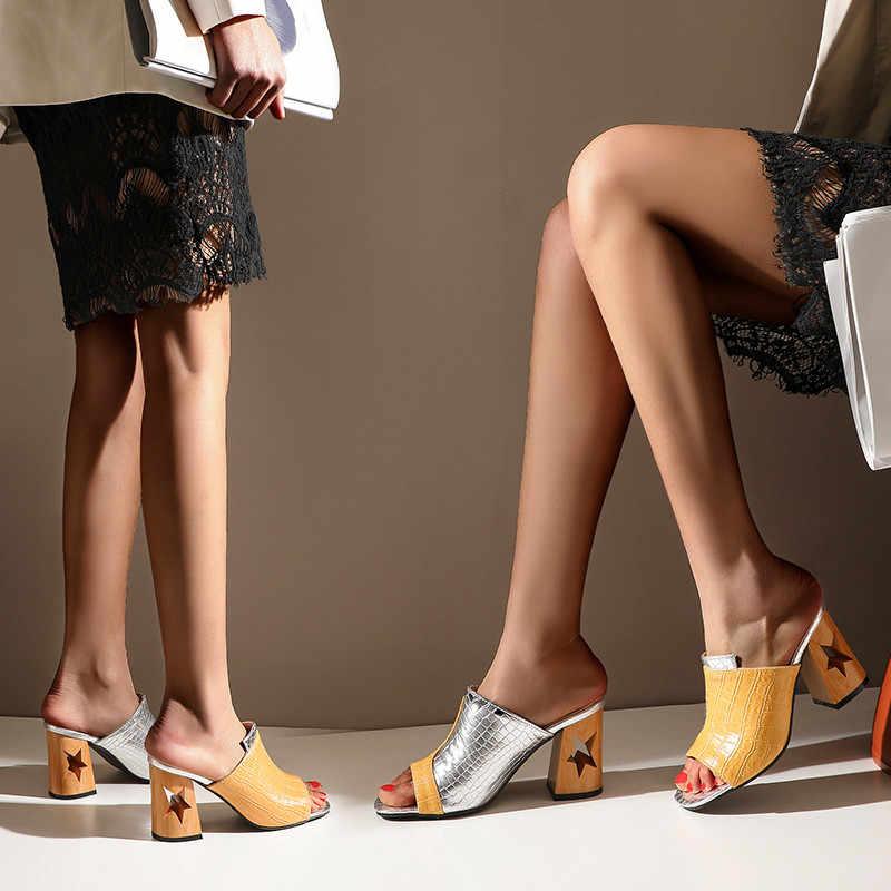 Nueva moda forma de estrella hueco tacones gruesos zapatillas de verano las señoras de las mujeres al aire libre diapositivas de serpiente PU mulas de cuero zapato de fiesta