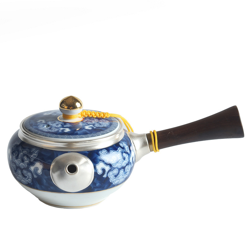 Ceramic Sterling Silver Teapot 999 Sterling Silver Handmade Teapot Household Filter Teapot Side Pot Teapot Kungfu Teapot