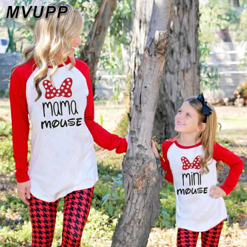 パパママミニマウス家族マッチング服ママと子供私ベビーガールボーイかわいい漫画のプリント tシャツシャツストリート