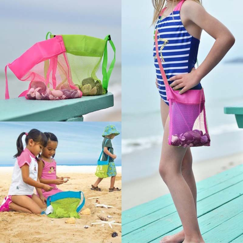 Color Children Beach Bag Girls Boys Toy Shell Conch Storage Net Bags Diagonal Small Collection Pack Q6PD