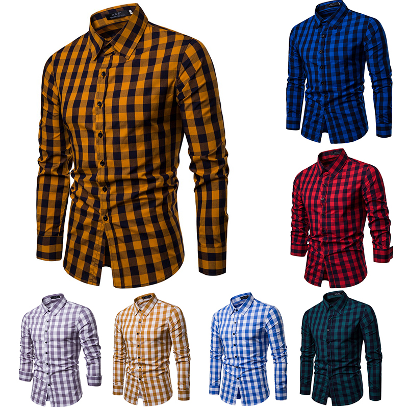 WSGYJ Men Plaid Shirt Long Sleeve Cotton Shirts 2019 Fashion Casual Multi-color Checkered Chemise Homme Man Clothes