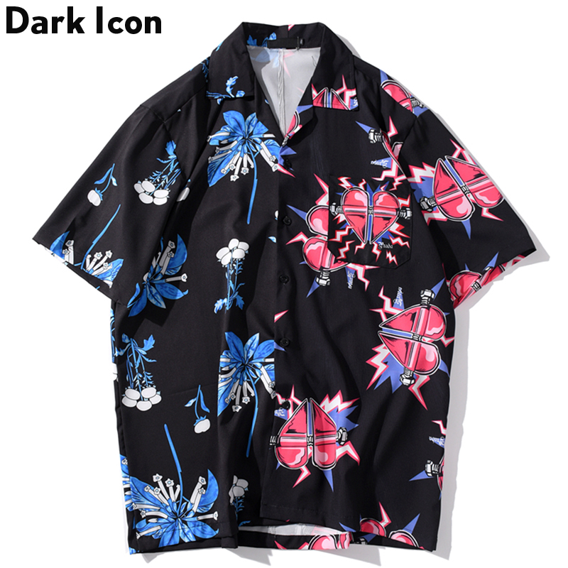 Dark Icon Front Pocket Turn-down Collar Hip Hop Shirt Men 2020 Summer New Fashion Men Women Shirts Printed Shirts For Men