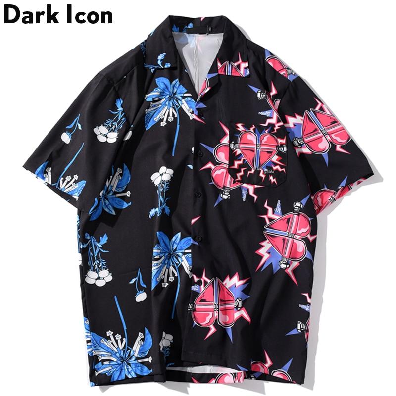 Dark Icon Front Pocket Turn-down Collar Hip Hop Shirt Men 2020 Summer New Fashion Men Women Shirts Printed Shirts For Men