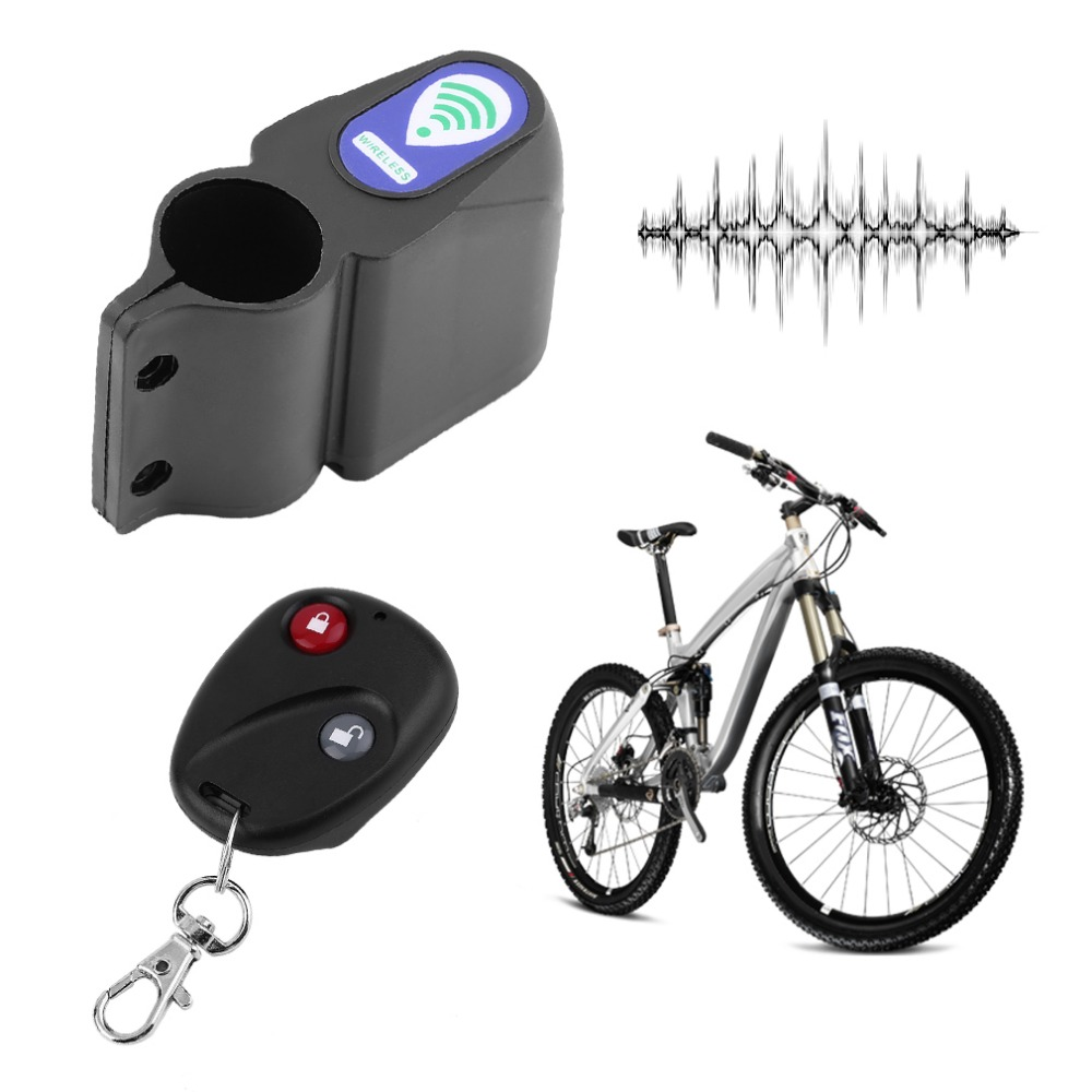 Bicycle Wireless Remote Control Anti-Theft Alarm, Shock Vibration Sensor Bicycle Bike Security Alertor Cycling Lock
