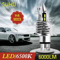SUHU-faros LED de alta potencia para coche y motocicleta, lámparas automáticas para la cabeza, antiniebla, H4 9003 HB2, Hi/Lo, blanco, 6500K, 6000LM, 1 Uds.