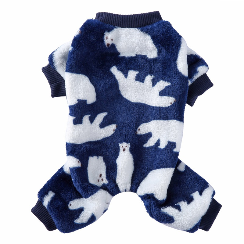 Lovely Dog Polar bear Print Pajamas Warm Fleece Pet Dog Clothes Chihuahua Puppy Clothing for Dog Winter Jumpsuit Clothing