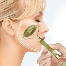 Cabeça dupla massagem facial natural massageador rosto jade rolo ferramentas de cuidados com a pele rolo massagem rosto pescoço natureza beleza dispositivo